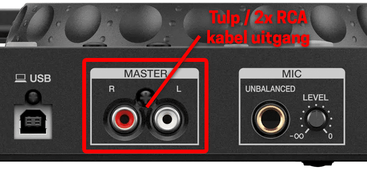 2x RCA audio uitgang